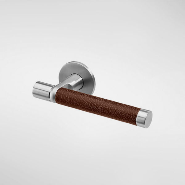 Sembla Lever Handle with Ultrafabrics Grip - Leather Brown