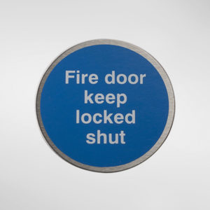98948 Alite Circular Self Adhesive 'Fire Door Keep Locked Shut' Sign