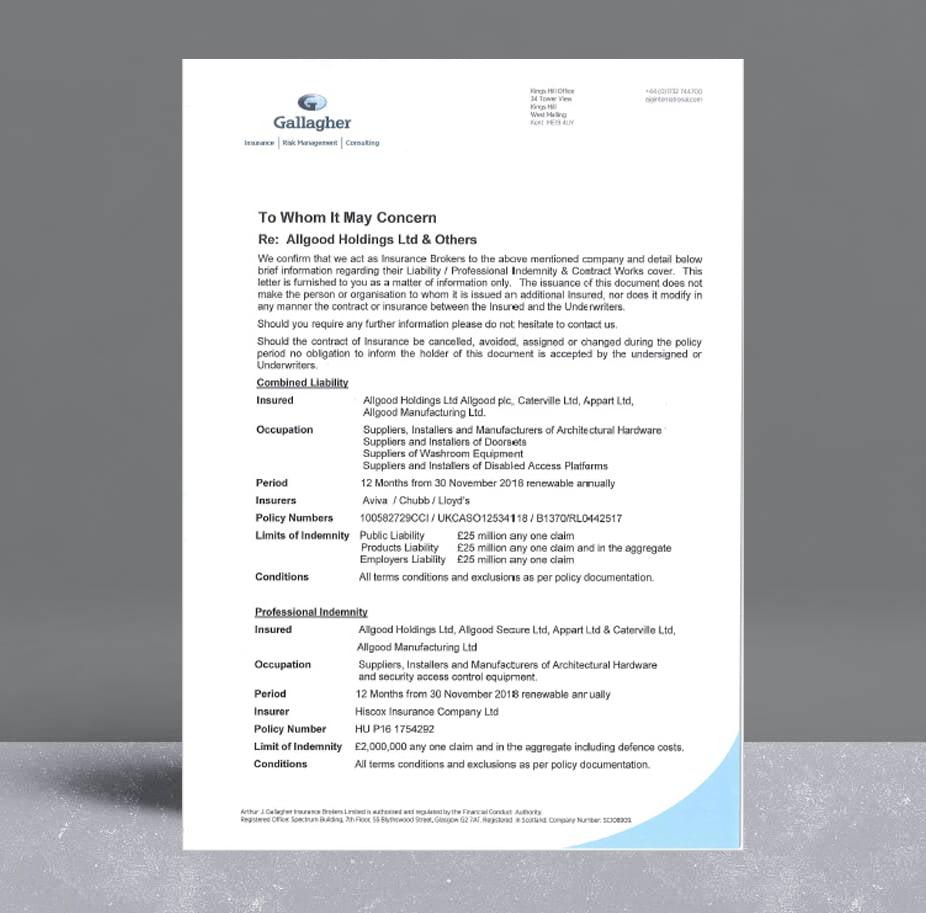 Allgood Holdings Liability Cert